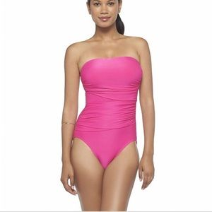hot pink draped bandeau one piece swimsuit !